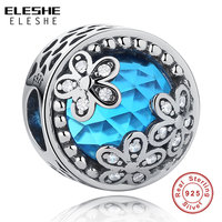 ELESHE Solid 100 925 Sterling Silver Magnolia Bloom Charm Beads Pink CZ Fit Original Pandora Charm