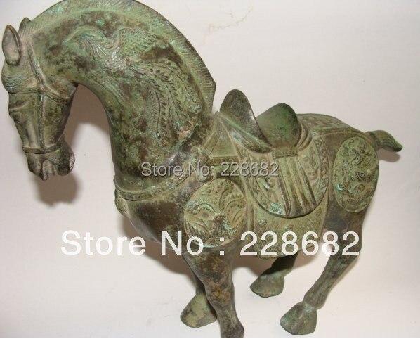 Antiquités asiatiques Rare Statue de cheval en Bronze de chine livraison gratuite