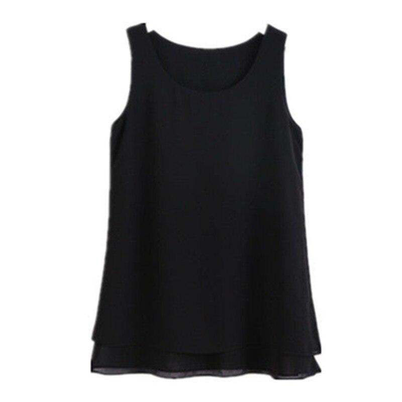 Модная брендовая Женская длинная шифоновая рубашка, Летняя Повседневная блузка большого размера плюс S 6XL, свободная блузка без рукавов, двухслойная шифоновая блузка|Блузки и рубашки|   | АлиЭкспресс