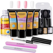 BURANO Poly Gel Kits Nail art Französisch Nail art Klar Camouflage Farbe Nagel Spitze Form Kristall UV Gel Polygel Scheibe pinsel Nagel Gel(China)