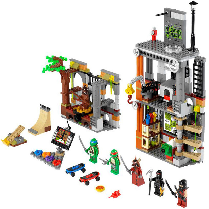 ФОТО 499pcs Turtle Lair Attack BELA Building Blocks Toy Set DIY Education Lepine Bricks Gift Toys Compatible with 79103