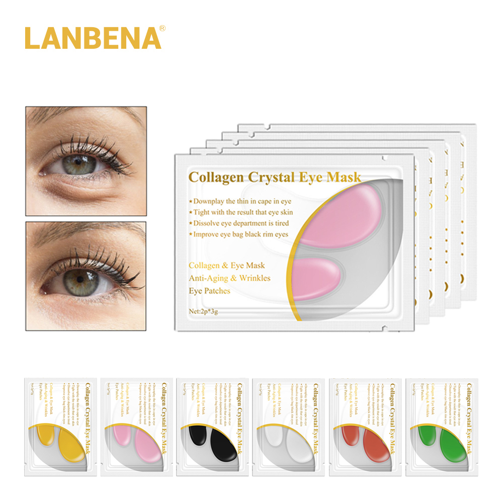 LANBENA 20pcs 10pairs 5pairs 24K Gold Crystal Collagen Eye Mask Eye Patches Dark Circle Puffiness Eye Bag Anti Wrinkle Face CareLANBENA 20pcs 10pairs 5pairs 24K Gold Crystal Collagen Eye Mask Eye Patches Dark Circle Puffiness Eye Bag Anti Wrinkle Face Care