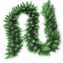 2,7 м искусственная зеленая Рождественская гирлянда, венок, рождественские вечерние украшения для дома, Рождественское украшение из сосны, ротанга, подвесное украшение для детей