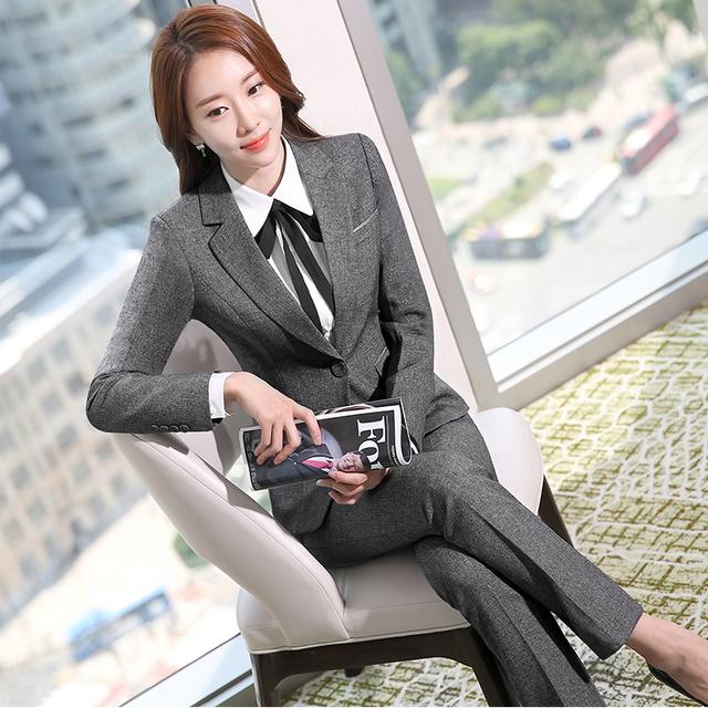 De dos Piezas de Damas Diseños De Uniformes de Oficina Mujer Trajes de Negocios Formal Traje Pantalón Gris Chaqueta De trabajo Desgaste Del Otoño