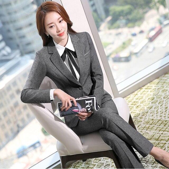 3dad2fd810 Two Piece Ladies Formal Pant Suit Office Uniform Designs Women Business  Suits Gray Blazer For work