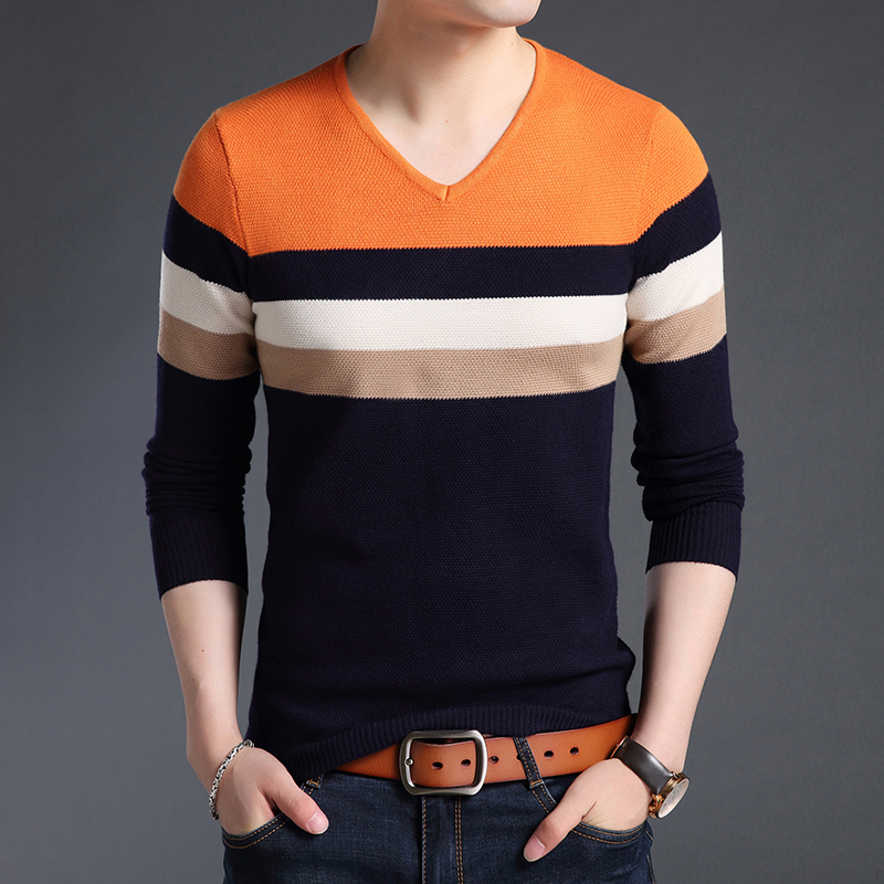 2019 New Fashion Brand Sweaters Men Pullover Warm Slim Fit Jumpers Knit V Neck Striped Autumn Korean Style Casual Mens Clothes Volume Large