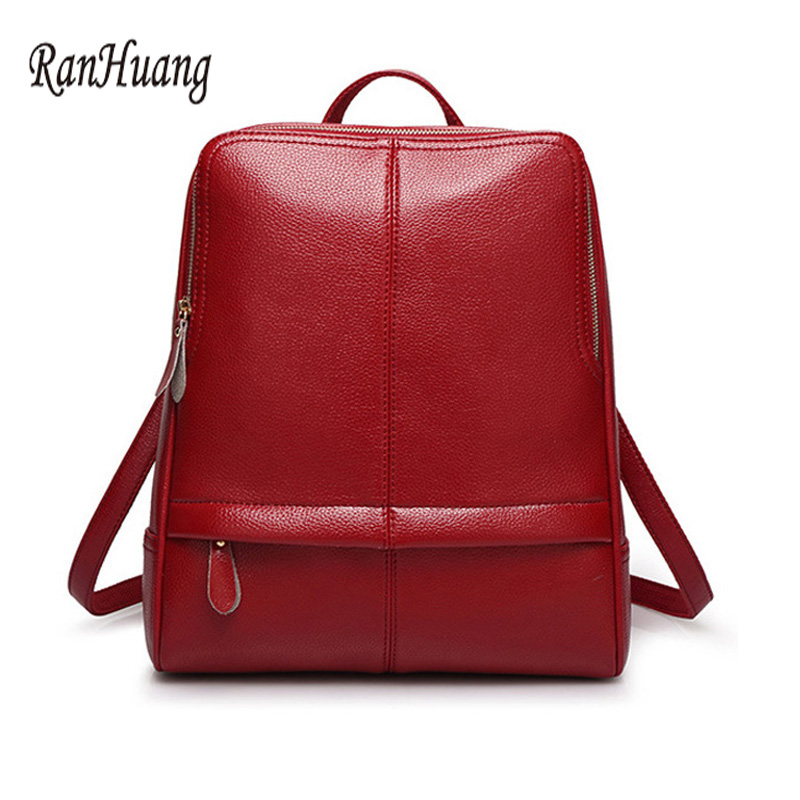 RanHuang Women Genuine Leather Backpack Preppy Style School Bags for Teenagers Girls Ladies Fashion Backpacks Red