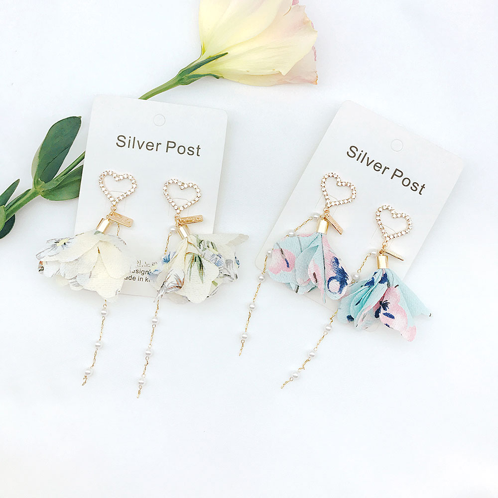 New Korean Spring Style Flower Pendientes Mujer Moda Full Rhinestone Heart Fashion Pearl Tassel Drop Earrings For Women
