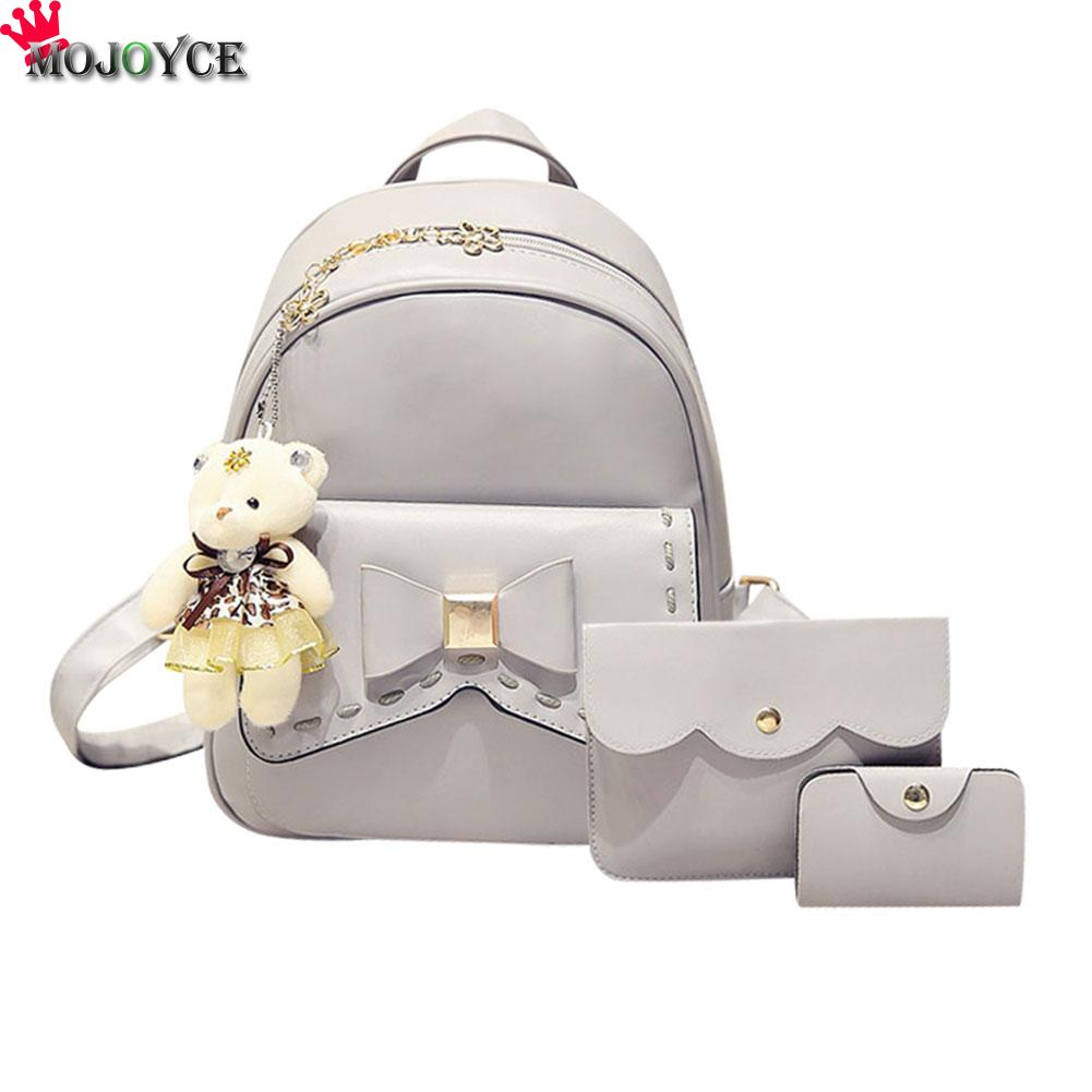 MOJOYCE New Women Backpack Small Size Fashion Backpacks for Teenage Girls PU Leather Women's Backpacks with Purses 3 Sets mojoyce backpacks for teenage girls women s pu leather backpack school bag casual vintage large capacity travel backpack