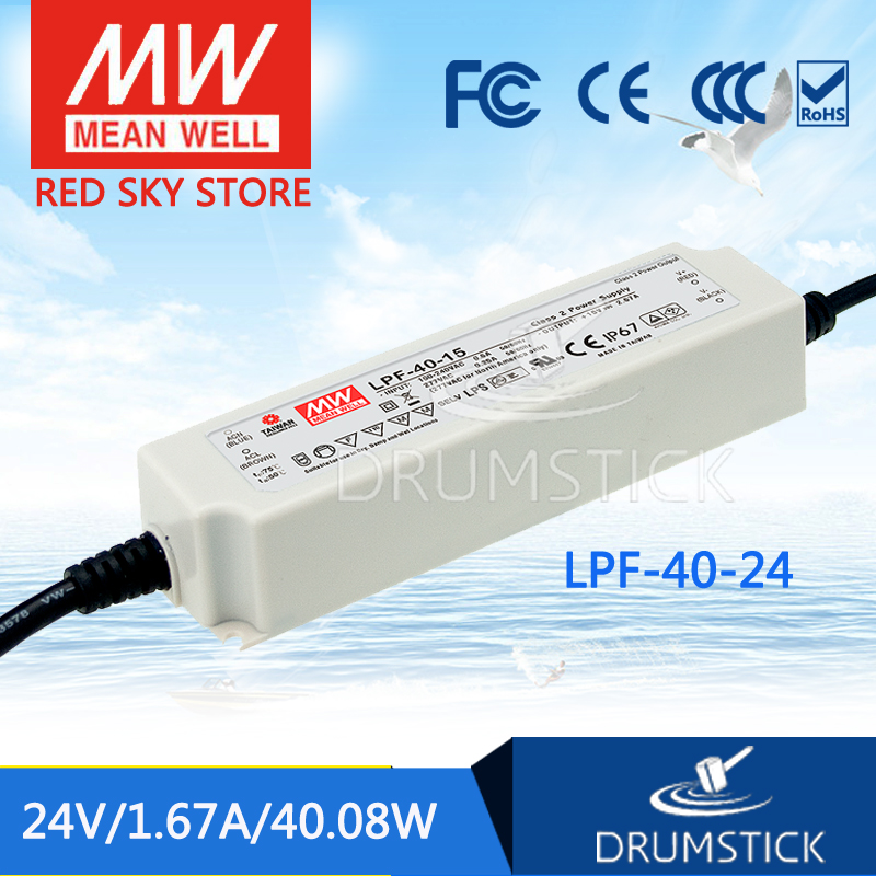 Selling Hot MEAN WELL LPF-40-24 24V 1.67A meanwell LPF-40 24V 40.08W Single Output LED Switching Power Supply mean well original lpf 40 30 30v 1 34a meanwell lpf 40 30v 40 2w single output led switching power supply