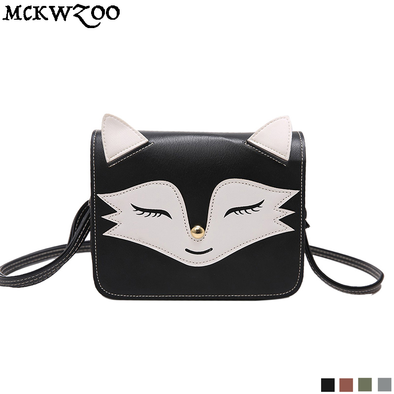 Fox Bear Animals Womens PU Leather Tote Shoulder Bags Handbags Casual Bag
