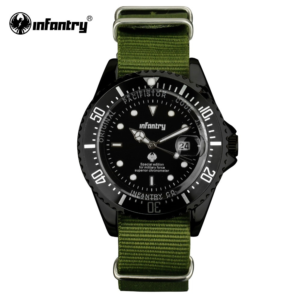 INFANTRY Mens Quartz Watches Luxury Brand Date Army Green Military Watch Sports Nylon Band Luminous Hand Relogio Masculino 6 colors orkina brand male nylon band date display sports quartz relojes mujer 2016 mens black case watch cool herren uhr rot