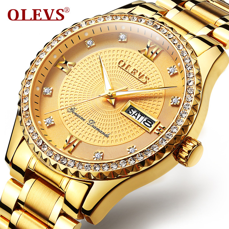 OLEVS Mens Watch Relogio Masculino 2017 Luxury brand Rhinestones Luminous Day Week waterproof Gold Quartz watch steel Clock NEW