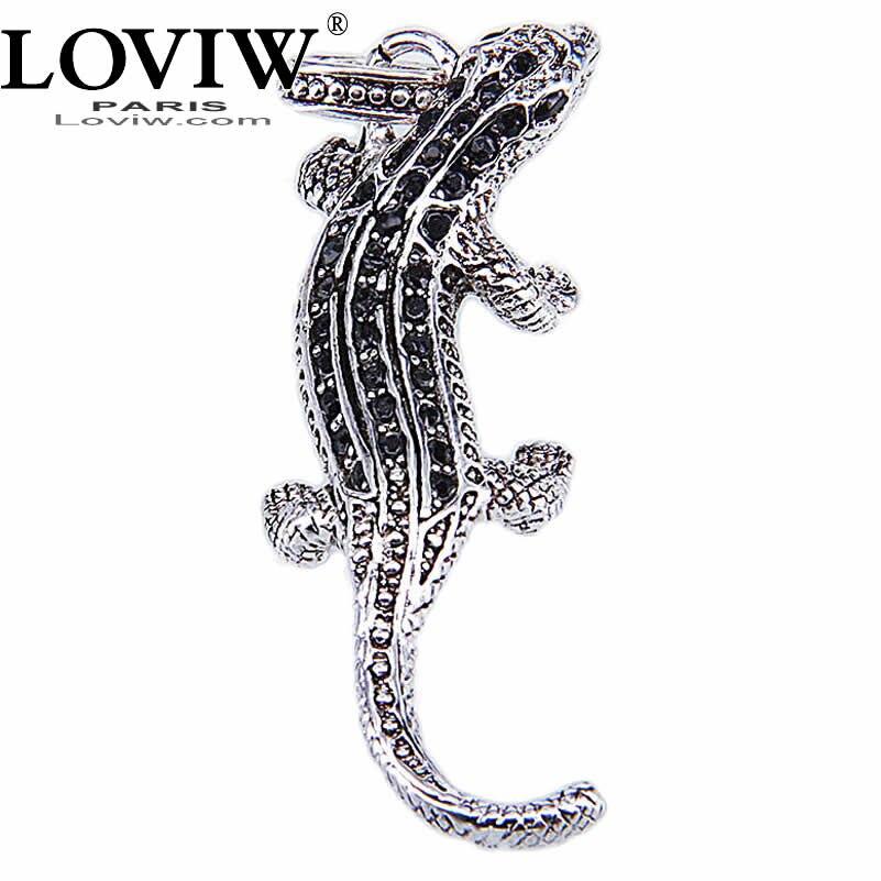 Black Zirconia Salamander Pendant with eyelet Necklace Halloween thomas Style Cool Silver animal Jewelry European For Women Men