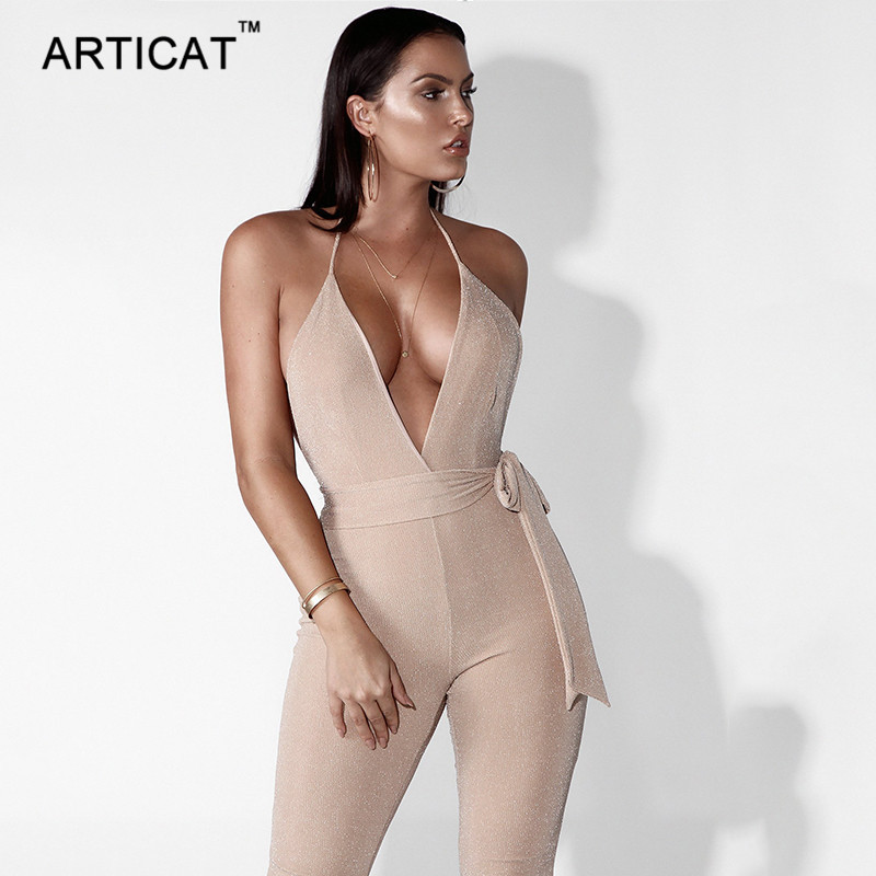 Articat Deep V Neck Backless Bandage Jumpsuit Women Rompers Sexy Off Shoulder Bodycon Bodysuits Calf-Length Pants Party Overalls