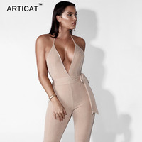 Articat Deep V Neck Backless Bandage Jumpsuit Women Rompers Sexy Off Shoulder Bodycon Bodysuits Calf Length