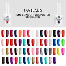 Saviland 15 ml Nail Polish Gel Poli Gel Smalto Del Gel Del Costruttore lunga Durata Manicure 58 Colori Top Base Coat Primer Nail lacca(China)