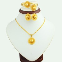 The New Arrival 2016 Small Size Ethiopian Jewelry Set 24k Gold Plated Bridal Jewelry Sets Gift