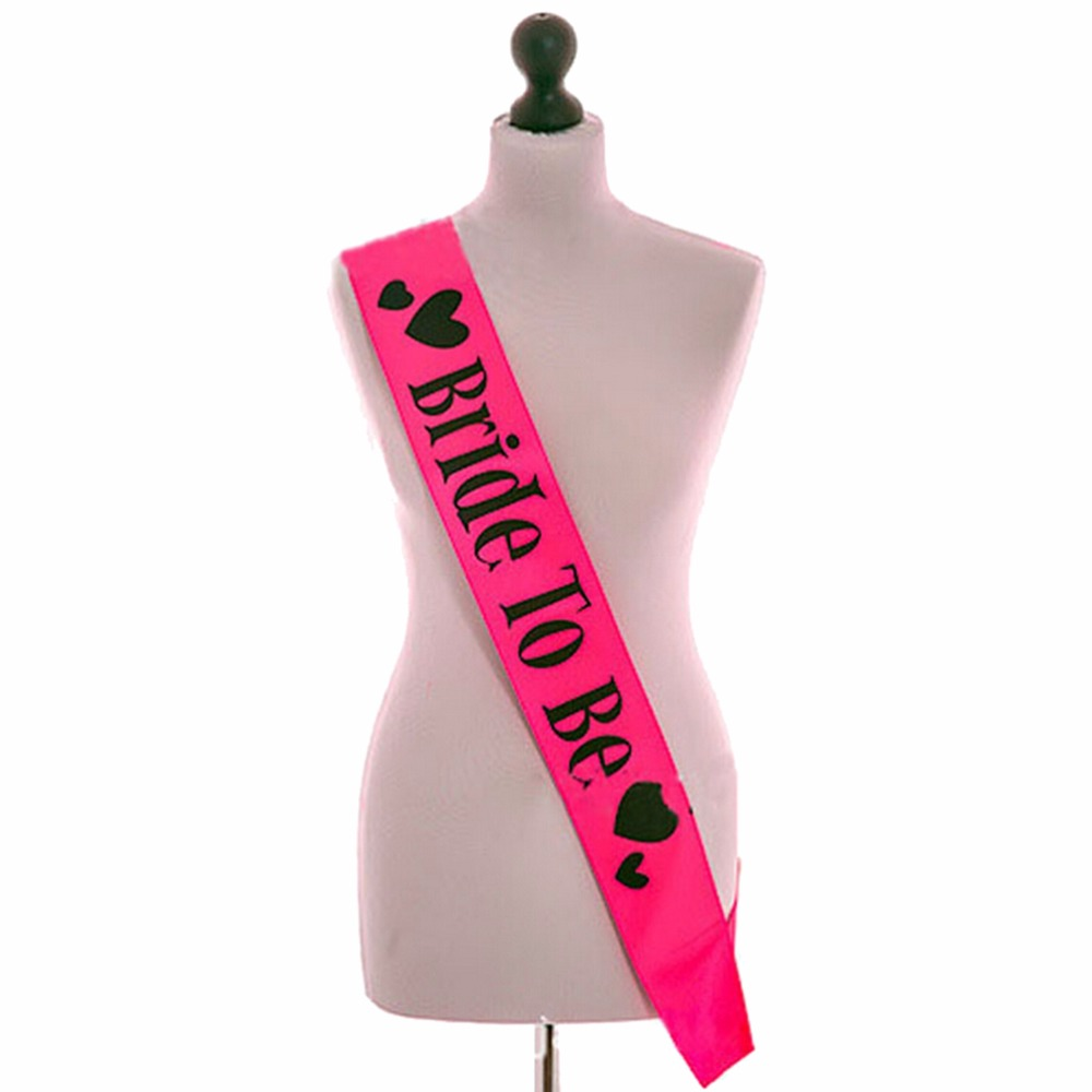 Hot Pink Hen Party Sash Satin Black Write Bride To Be Sash Hens Night Out Decoration Sash Decorative Flowers & Wreaths