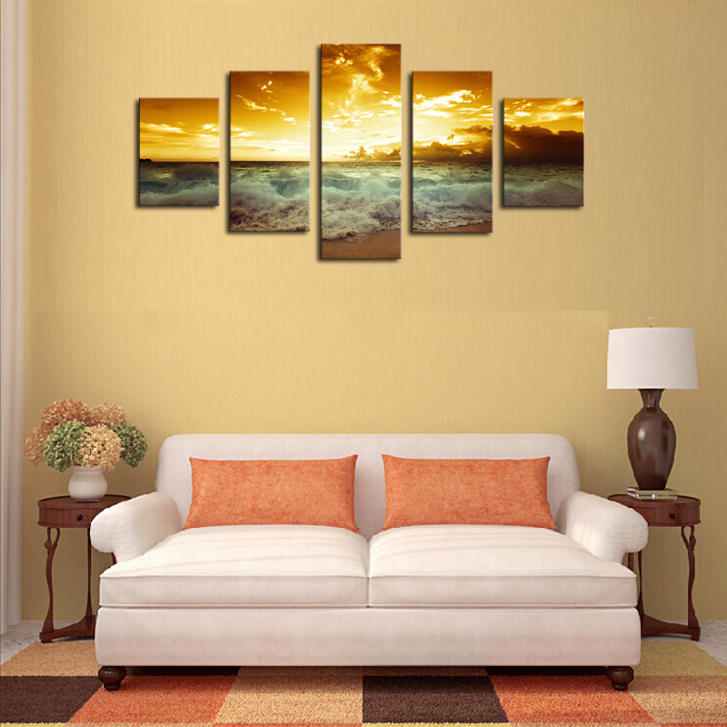 Unframed 5 Piece The Yellow Sea And setting sun Modern Home Wall Decor Canvas Picture Art HD Print Painting On Canvas Artworks-in Painting & ...