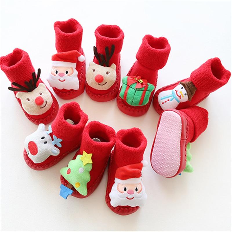 Xmas Cute Baby Kids Girls Boy Cotton Stocking Christmas Party Warm Stockings Booties Santa Claus Snowman Stereoscopic