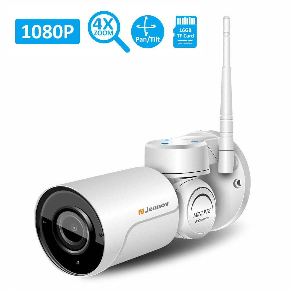 Jennov PTZ IP Camera quan sát Ngoài Trời 1080P Camera Giám Sát Ngoài Trời Không Dây Âm Thanh Ghi WIFI An Ninh Cam 2MP HD P2P 4 x Zoom