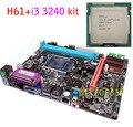 НОВЫЙ Micro-ATX DDR3 LGA1155 H61 + I3 3240 КОМПЛЕКТ Материнской Платы