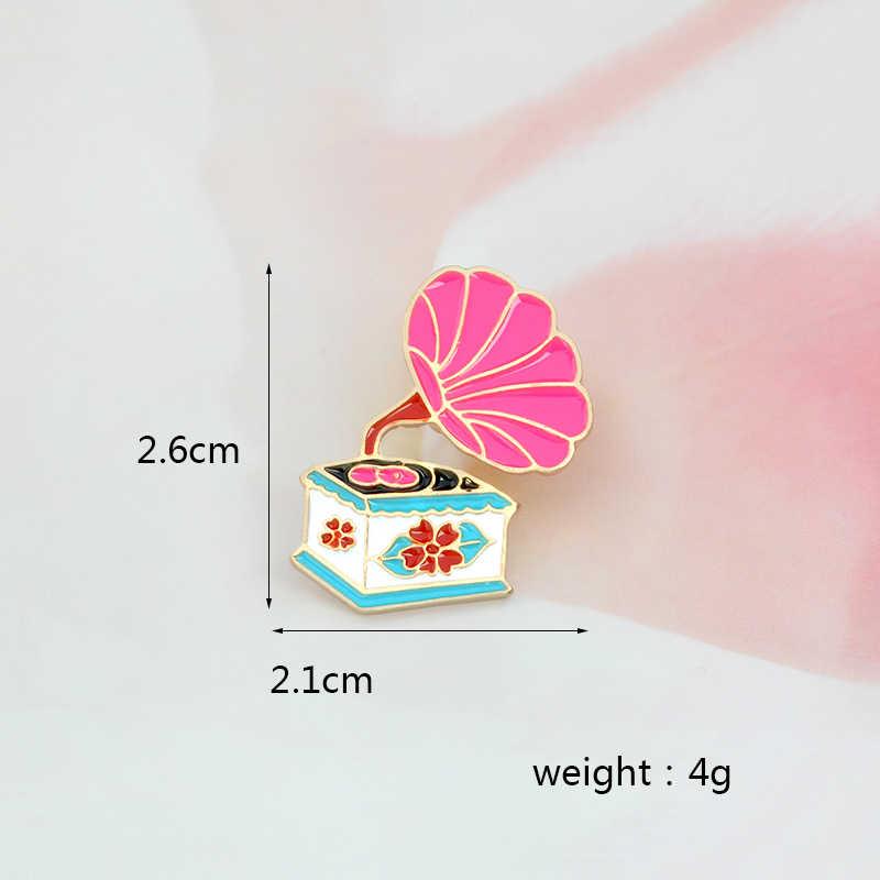 Kartun Pink Vintage Phonograph Bros Lencana Stitch untuk Jaket Denim Ransel Pencinta Musik dan Kreatif Anak-anak Hadiah