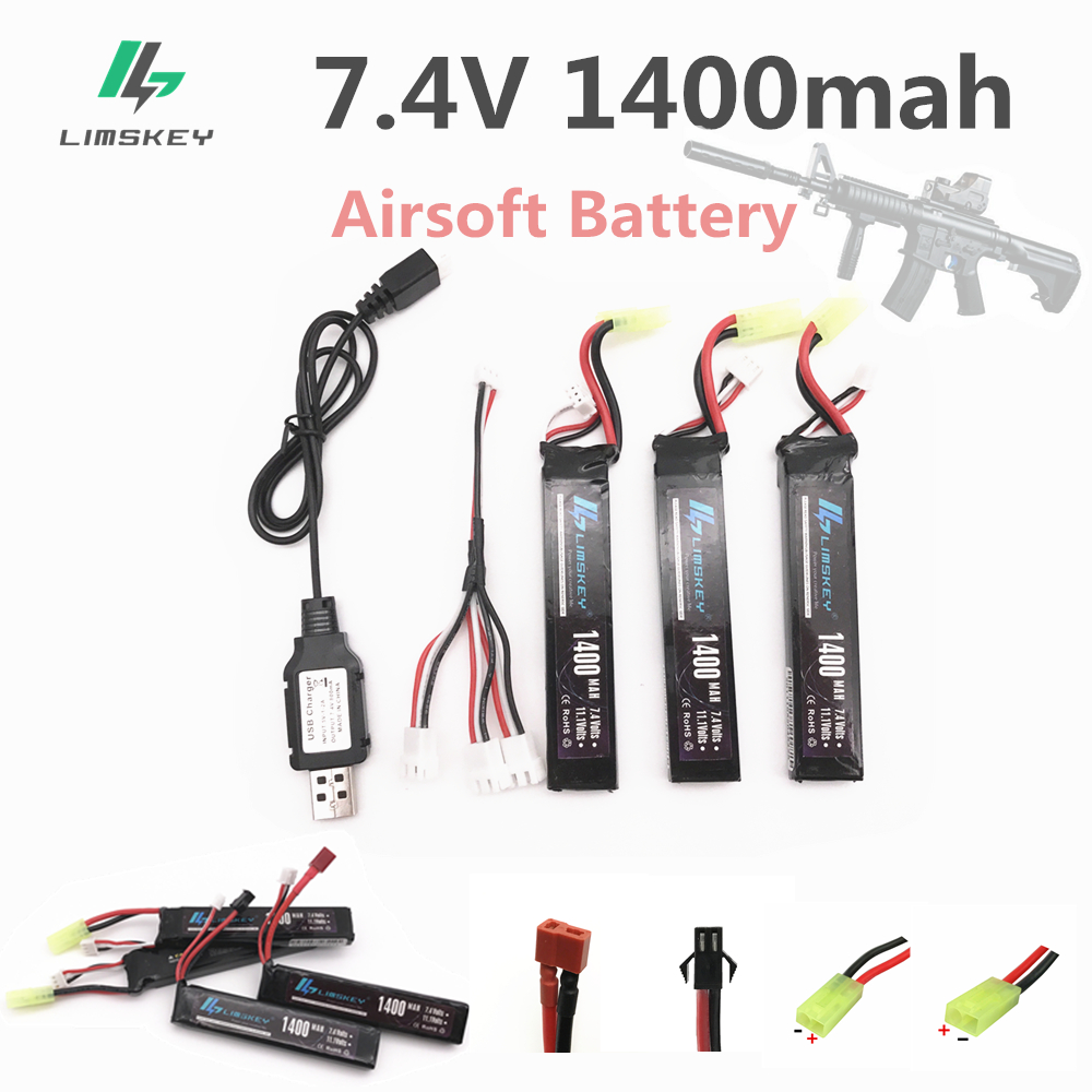 Limskey RC Lipo Battery 3pcs 7.4V 1400mAh with 7.4V Charger 25C Mini Airsoft Guns Battery RC Model Lipo Battery T/SM/Tamiya/XT60 2018 new arrived lipo battery 2s 7 4v 1200mah 20c max 50c with tamiya connector akku for mini airsoft gun battery rc model