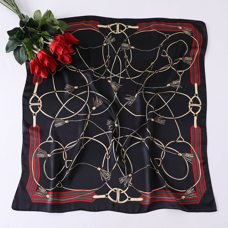 2020 Luxury Brand Women Scarf Spring Summer Square Scarfs Smooth Soft Small Size Neck Tie Band Foulard Silk Hijabs 70*70cm