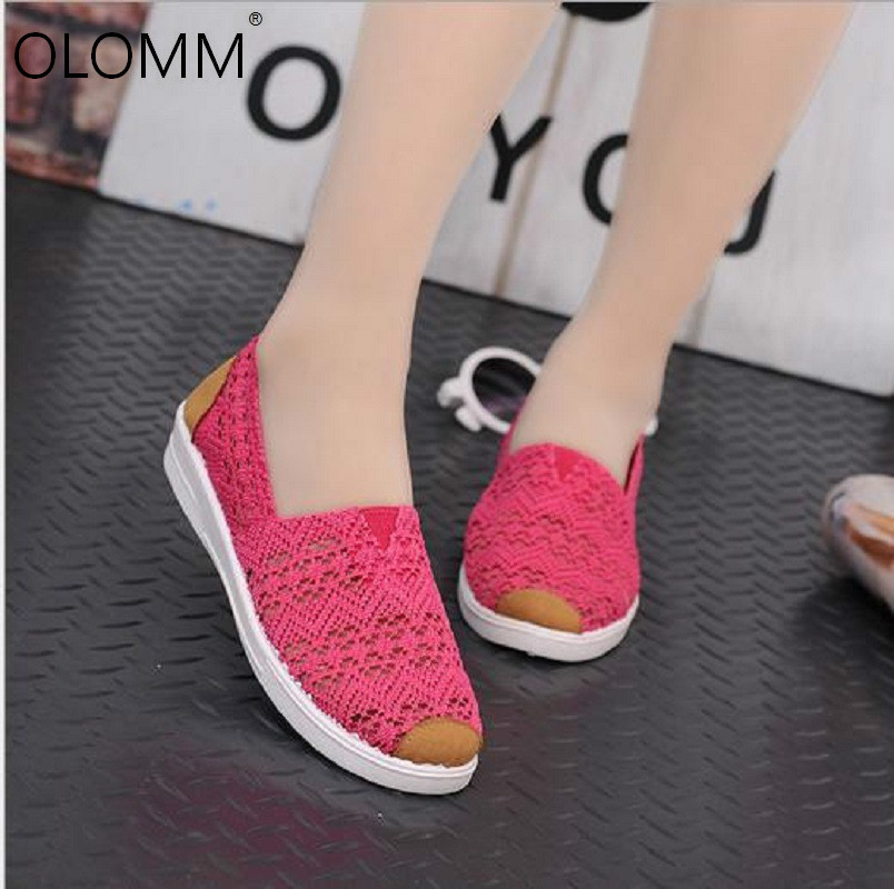 2019 Mesh Shoes Casual Breathable Walking Driving Shoes Flat Shoes Women  Zapatos De Mujer Platform Sneakers(China)