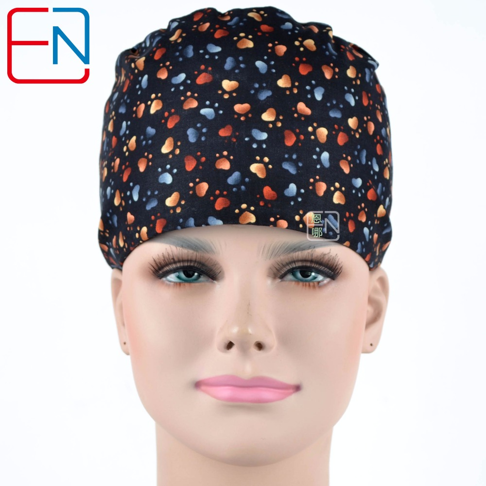Unisex Surgical Hats In Black With Footprints