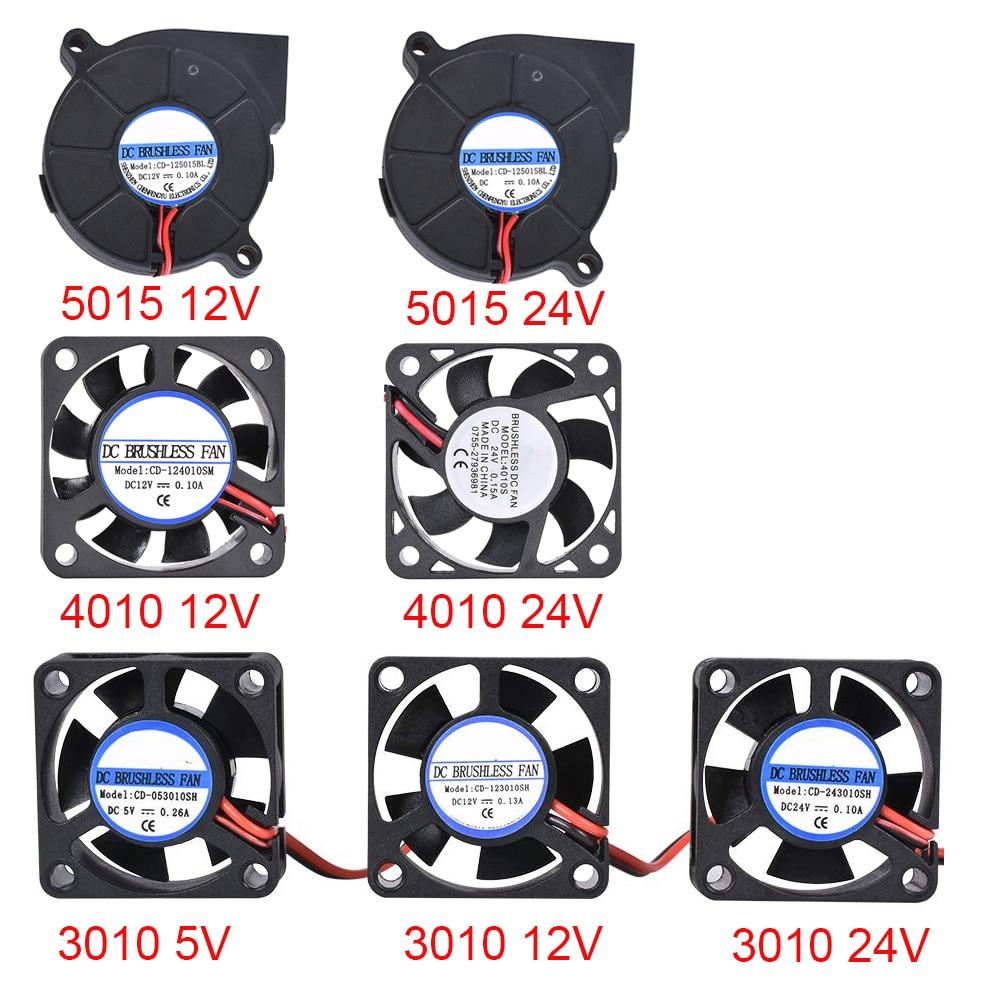 3D Printer Parts 3010/4010/5015 Cooling Fan 5V/12V/24V Brushless Fan Blower Fan For V6 J-head Bowden Extruder Reprap Turbo Fan
