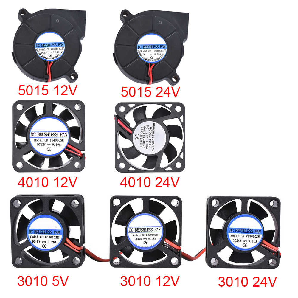3D Printer Parts 3010/4010/5015 Cooling Fan 5 V/12 V/24 V Brushless Fan blower Fan untuk V6 J-Kepala Bowden Extruder RepRap Turbo Fan