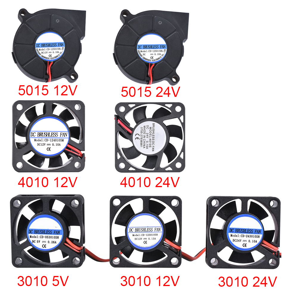3D Printer Parts 3010/4010/5015 Cooling Fan 5V/12V/24V Brushless Fan Blower Fan For V6 J-head Bowden Extruder Reprap Turbo Fan