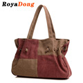 RoyaDong 2017 Vintage Women Bag Canvas Color Blocking Drawstring Shoulder Bag Big Size Tote