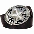 Hombres cinturón de cuero hebilla de metal cinturones de Cinco puntas de estrella pentagrama Tótem punk rock estilo tendencia cinturón para los hombres
