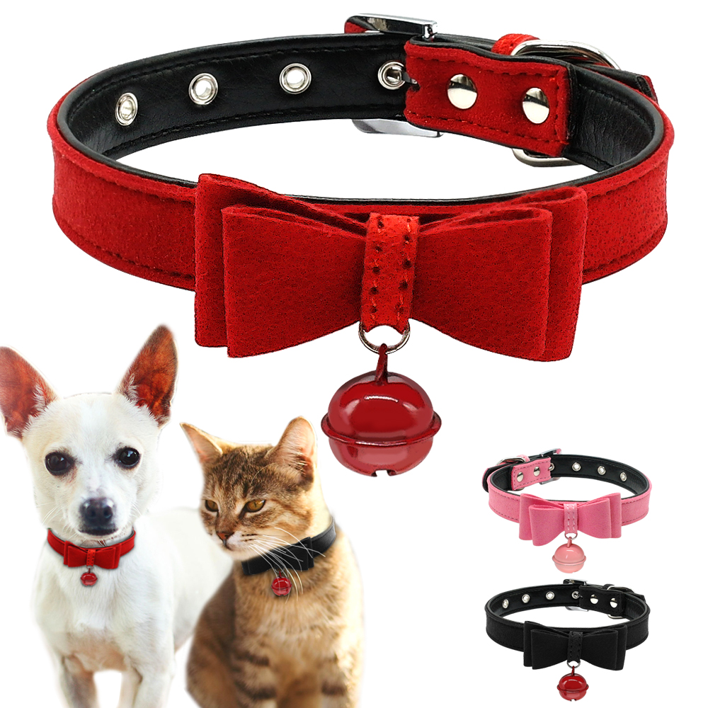 Bowknot Cat Dog Collar Leather Adjustable Bell Collars Kitten Puppy Pet Collars Pet Accessories Red Pink Black Xxs Xs S M