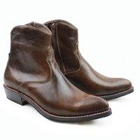 Западные сапоги ручной работы Для мужчин Браун теплые ботинки из натуральной кожи Для мужчин Ботильоны botas Militares мотоботы Для мужчин шитья,