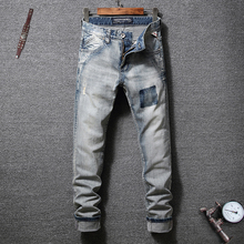 Fashion Streetwear Men Jeans Slim Fit Retro Washed Ripped Denim Hip Hop Pants Vintage Designer Classical Homme