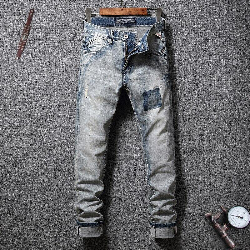 Fashion Streetwear Men   Jeans   Slim Fit Retro Washed Ripped   Jeans   Men Denim Hip Hop Pants Vintage Designer Classical   Jeans   Homme
