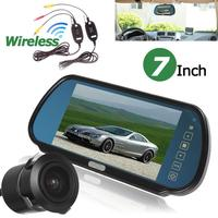 7 TFT LCD Car Rear View Backup Mirror Monitor 18mm 170 degree Embedded IR Reverse Camera + Wireless Transmitter Receiver