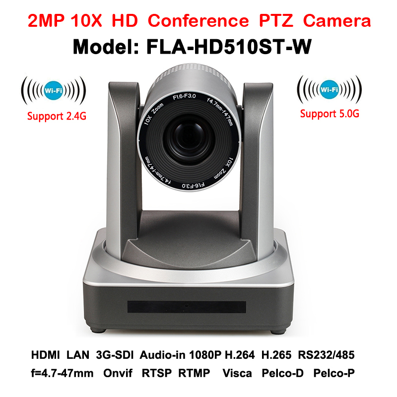 2MP 10x Zoom Crystal clear High Definition 1080p video ip conference ptz camera Wireless with HDMI 3G-SDI Output image
