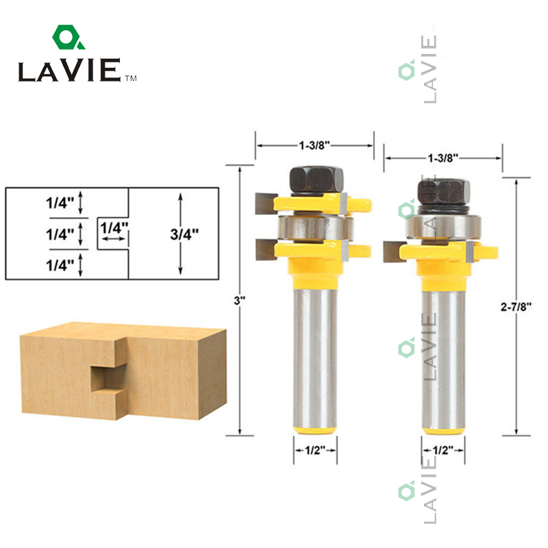 LA VIE 1/2 Milling Cutters Router Bit CNC Mill Tongue & Groove 3 Teeth T-shape Wood Drill Bits Set Woodworking Power Tool 02023 point cut round over groove 1 4 1 4 woodworking tool needle nose cutters wood cnc router bits endmill manufacturer tideway 2886