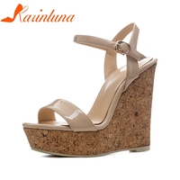 KARINLUNA New Size 34 41 Sexy Platfrom Party Shoes Woman Brand Wedges High Heels Ankle Strap