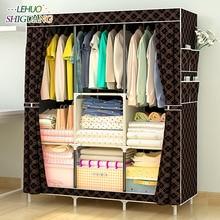 간단한 옷장 부직포 스틸 파이프 프레임 보강 서 스토리지 주최자 분리형 의류 옷장 침실 가구