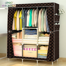 Simple Wardrobe Non woven Steel pipe frame reinforcement Standing Storage Organizer Detachable Clothing Closet Bedroom furniture