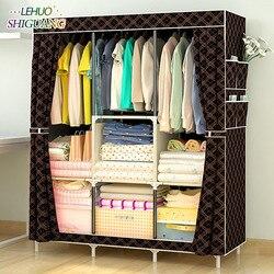 Simples guarda-roupa não-tecido tubo de aço quadro reforço em pé organizador de armazenamento destacável vestuário armário móveis do quarto