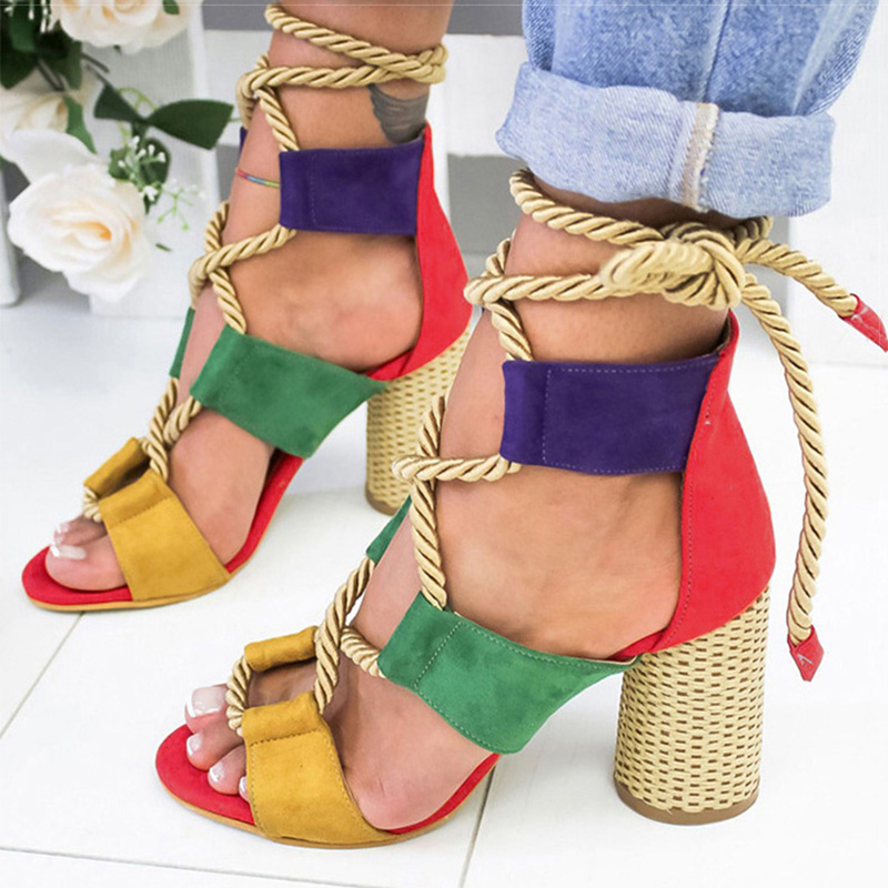 Heels Sandals Pumps Lace-Up Summer Shoes Woman Fish-Mouth Gladiator Hemp-Rope Pointed