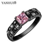 Yanhui marca única de Oro Negro relleno anillo de compromiso con 6mm Rosa ZIRCON boda Anillos para las mujeres moda joyería YR187a